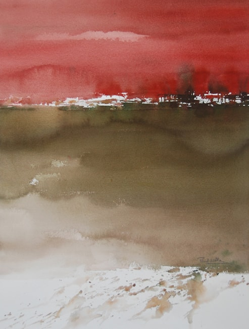 Paul Nellens Watercolour painting Red Sky